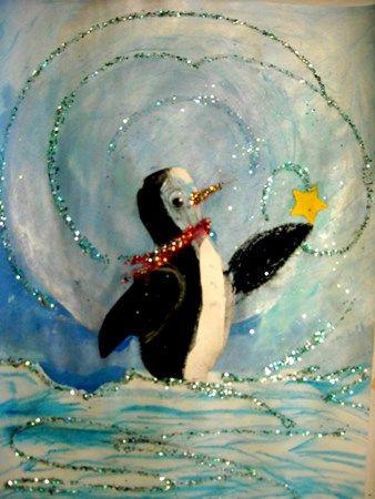 摘星星的企鹅儿童画作品在线欣赏