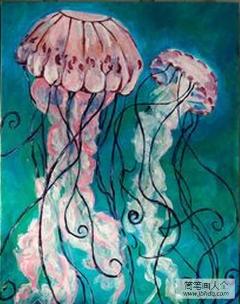 漂亮的水彩画|漂亮的水母海底世界主题油画作品欣赏