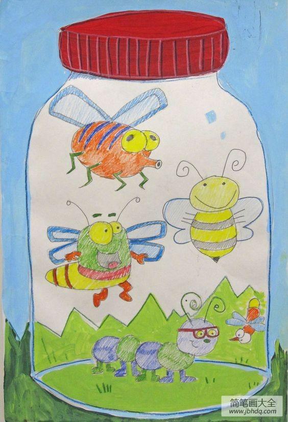 [油罐子昆虫]罐子里的昆虫动物画画作品欣赏