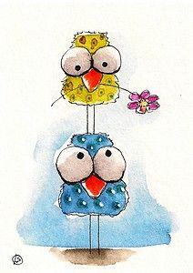 [小鸟做游戏趣味动物水彩图片大全]小鸟做游戏趣味动物水彩图片欣赏