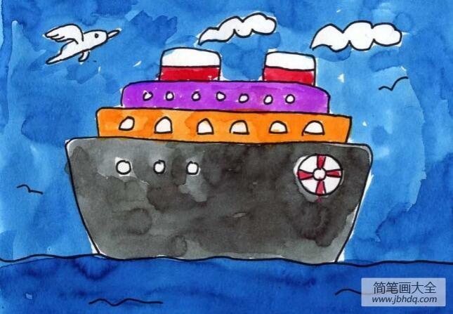 一艘大邮轮关于大海的水彩画作品
