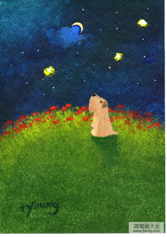 美丽的星空国外水彩画作品欣赏