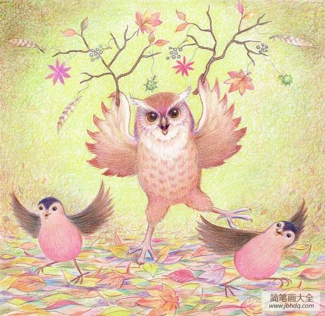 有趣的猫头鹰动物|猫头鹰跳舞有趣的高中彩铅河北所作文有肃宁几图片