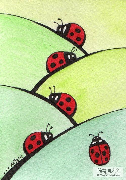 可爱的七星瓢虫作文|可爱的七星瓢虫国外水彩画作品赏析