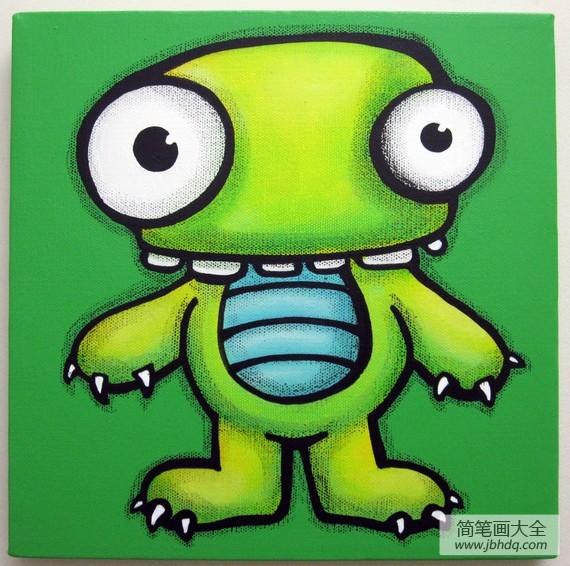 【大眼卡通头像】绿色的大眼怪卡通怪兽油画作品展示