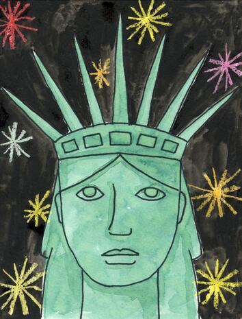 自由女神像国外建筑水彩画分享