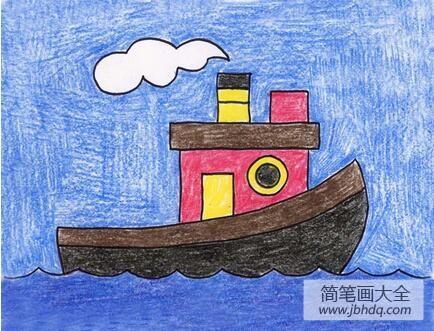 交通工具儿童画作品之大海上的船