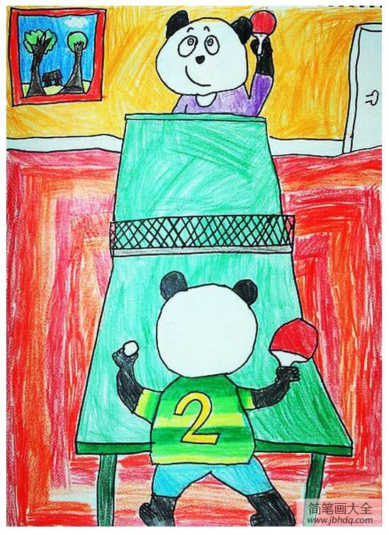 熊猫的乒乓球比赛创意动物画展示