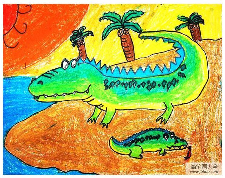 【法国鳄鱼和卡帝乐鳄鱼】鳄鱼妈妈和小鳄鱼动物主题画欣赏