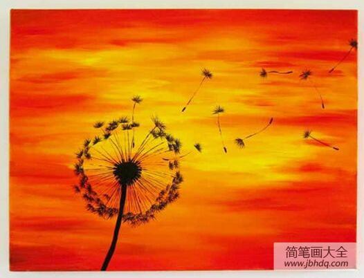 蒲公英被风吹的一段话_蒲公英飞啦风景油画作品欣赏