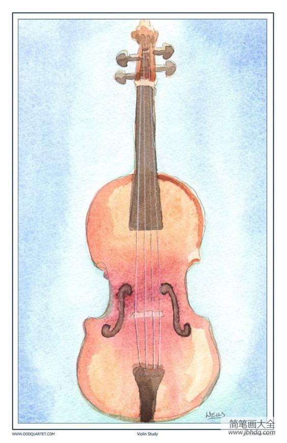 我的小提琴水彩静物写生图片欣赏