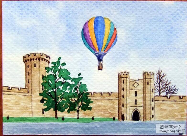 热气球升空水彩风景画临摹图片分享