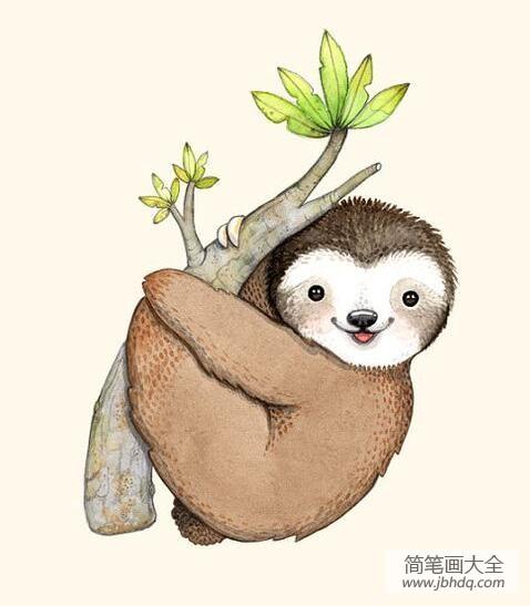 可爱的书签怎么折|可爱的树懒彩色动物画作品欣赏