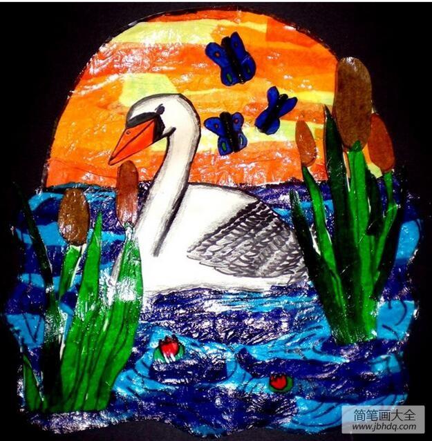 黑夜里的白天鹅关于动物的绘画图片欣赏