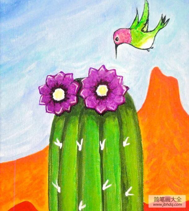 仙人掌花和小鸟儿童画画图片分享