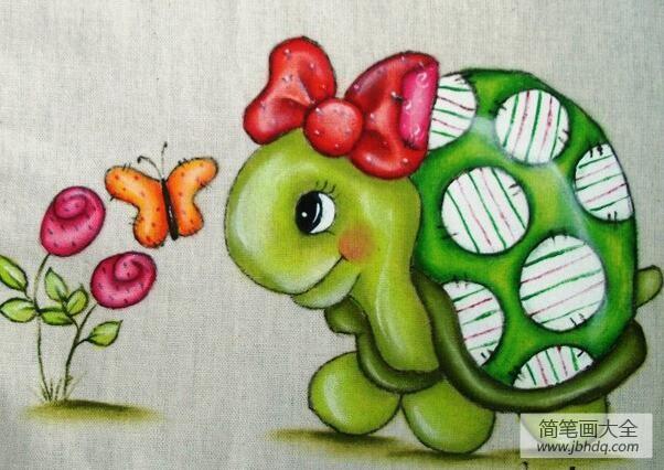 怎么扎蝴蝶结_扎蝴蝶结的小乌龟卡通动物油画作品分享