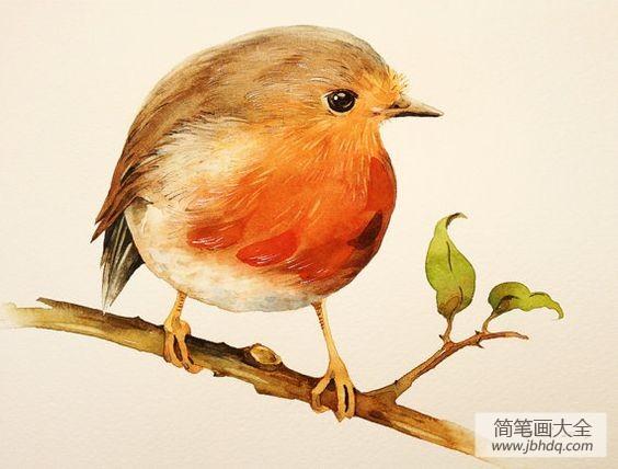 小鸟幼儿油画作品之树上的小黄鸟