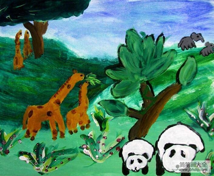 【大熊猫长得非常】大熊猫和长颈鹿森林动物油画作品赏析