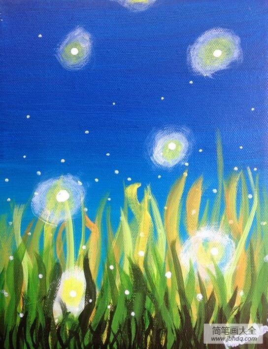 夏夜的萤火虫夏天绘画图片大全