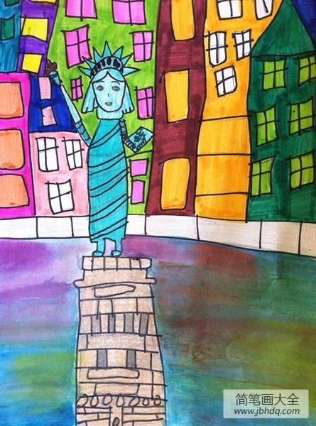 自由女神像关于旅行儿童画作品欣赏