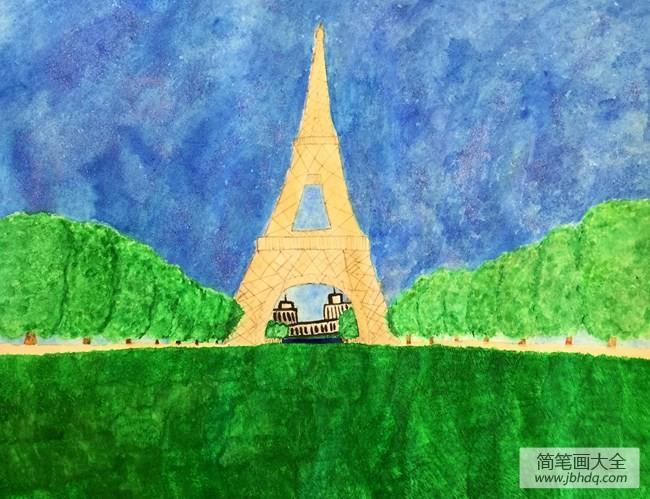 埃菲尔铁塔巴黎风景画画图片欣赏