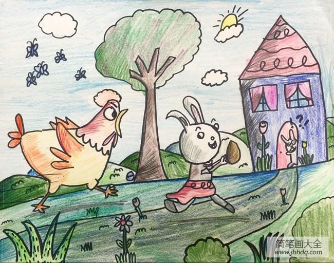 母鸡妈妈和小兔子动物画画图片分享