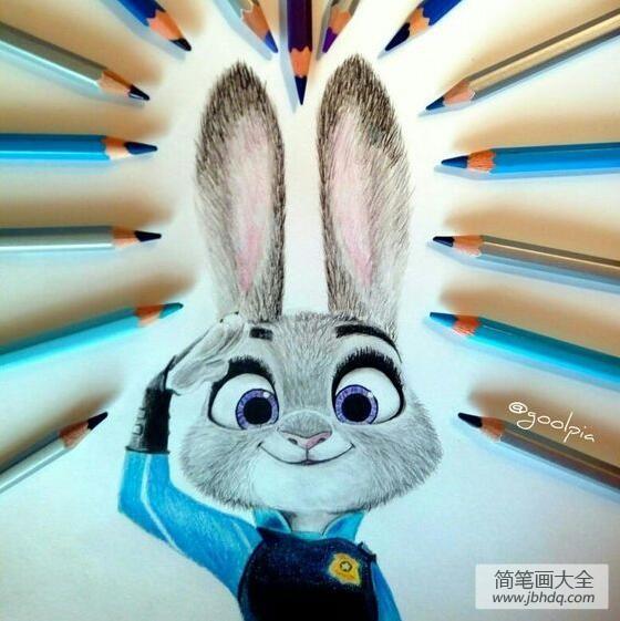 【兔子警官朱迪动画片】兔子朱迪警官彩铅画疯狂动物城作品分享