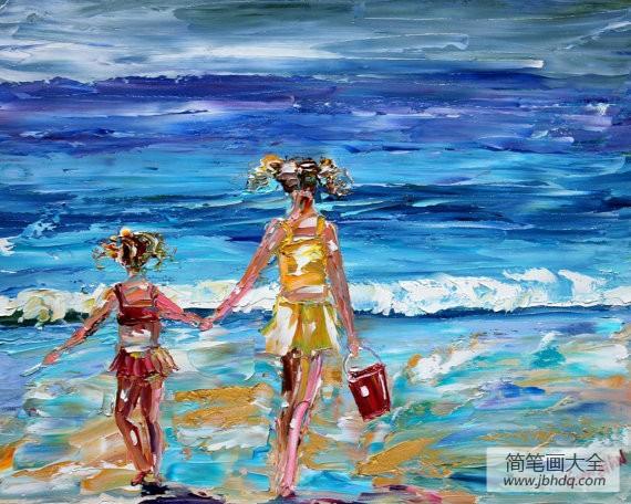 小姐妹捡贝壳油画作品欣赏