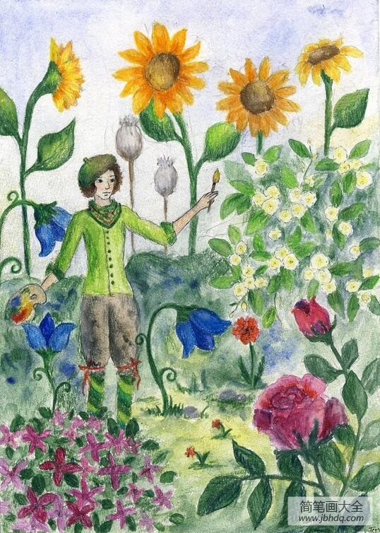 夏日的花园夏天绘画图片欣赏