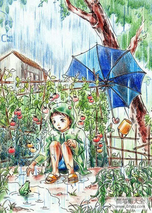 小男孩和青蛙有关于夏天的画分享