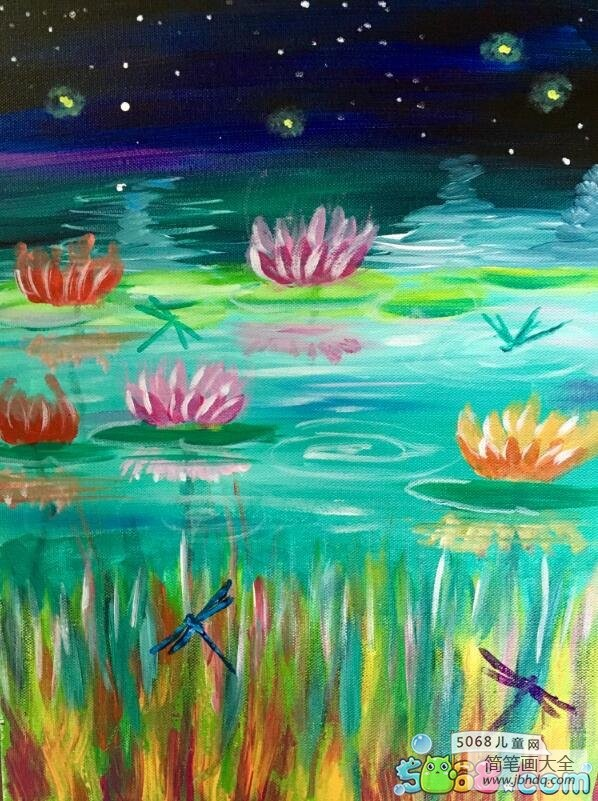 美丽的小荷塘国外夏天主题油画作品欣赏