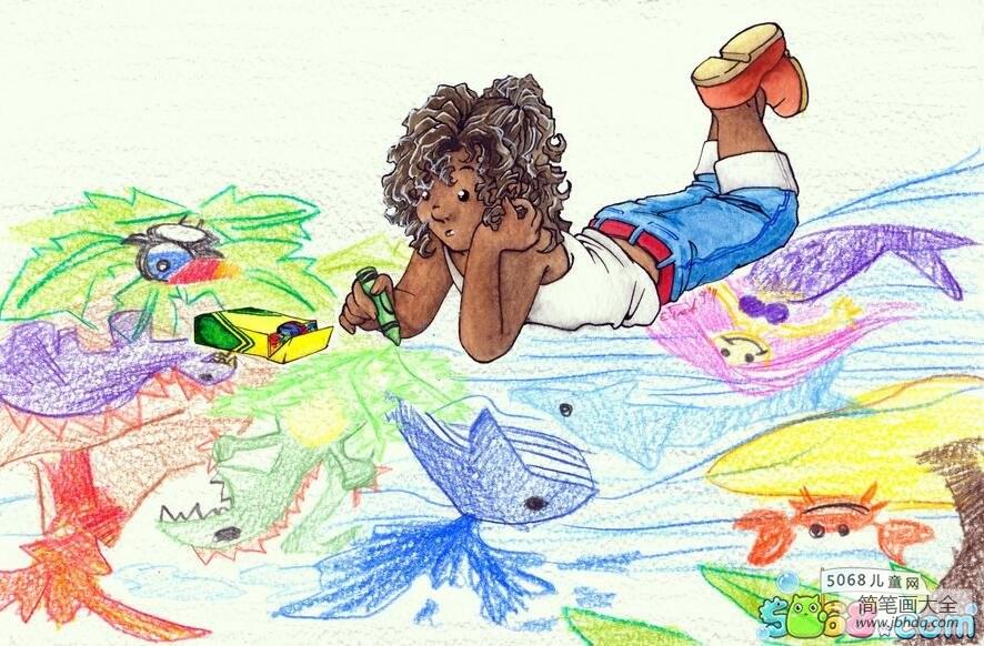 画画的小男孩外国小朋友画夏天的画分享