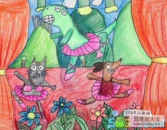 跳舞的小动物创意绘画作品欣赏