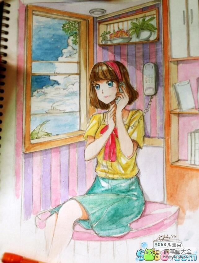 打电话的小女孩初中生夏天的画作品欣赏