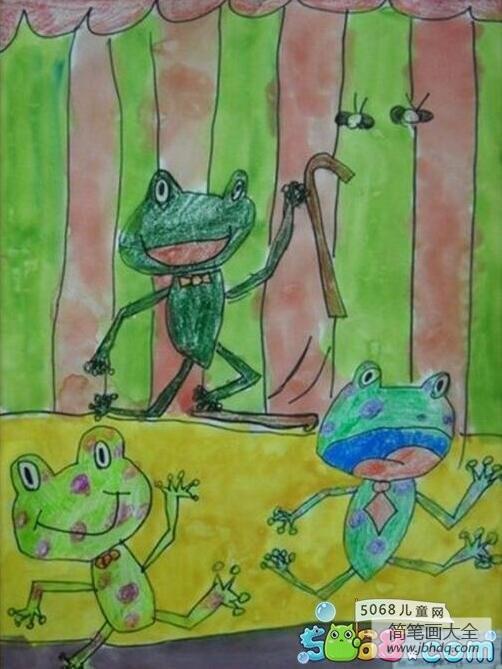 舞台上的小青蛙儿童画夏天主题画