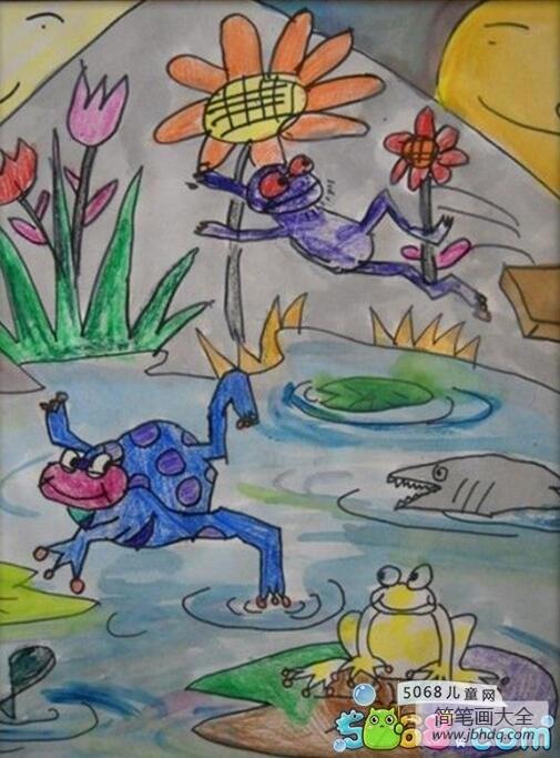 调皮的小青蛙夏天动物绘画作品