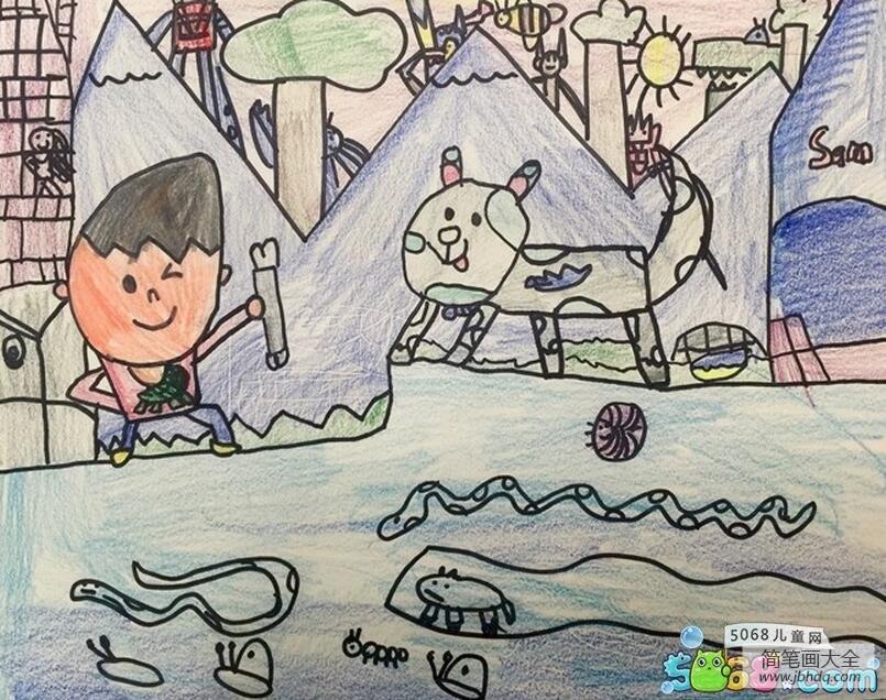 和小花猫一起捉鱼画暑假里的画分享