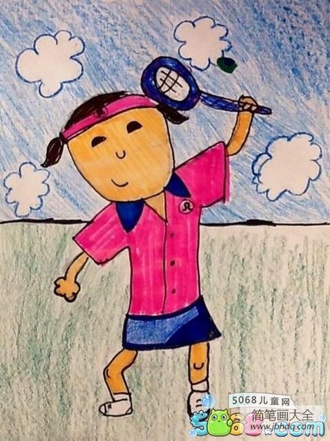 打网球的英文 打网球关于运动的绘画图片大全