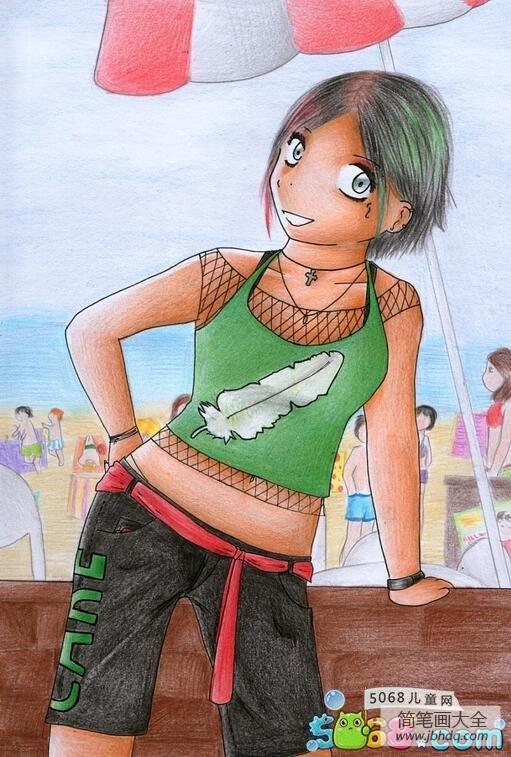 我爱放暑假夏天人物彩铅画作品欣赏