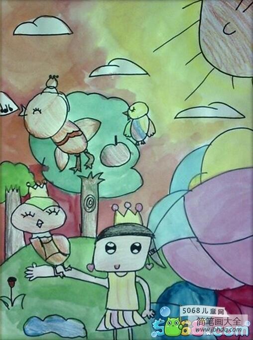 和小鸟做朋友一年级画暑假的画分享