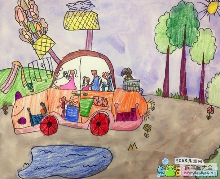 全家开车去旅行暑假生活画作品展示