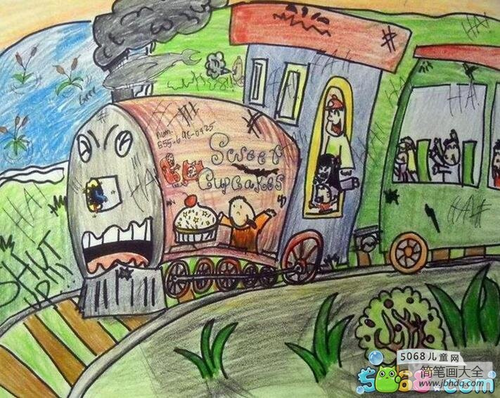 乘坐火车去游玩快乐暑假主题画作品展示