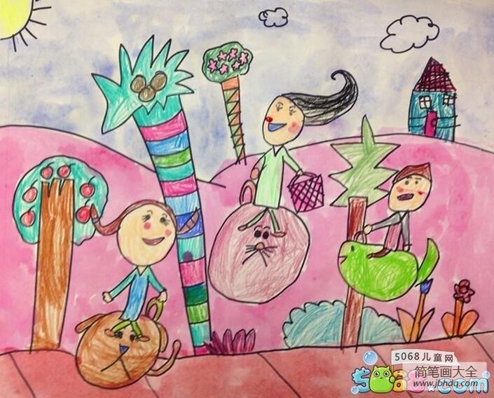 一起过暑假快乐的夏天儿童画作品