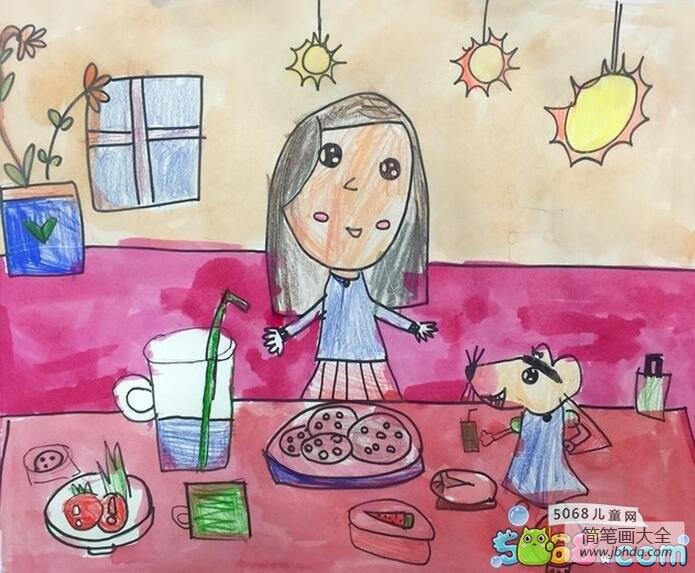 美味的早餐快乐的暑假画画图片欣赏