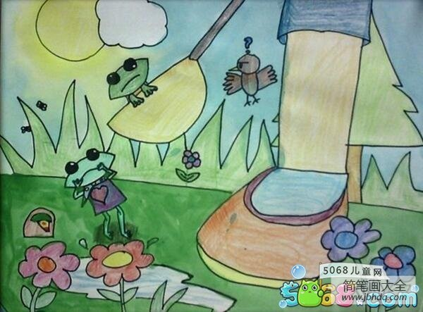 请勿伤害青蛙环保主题画分享