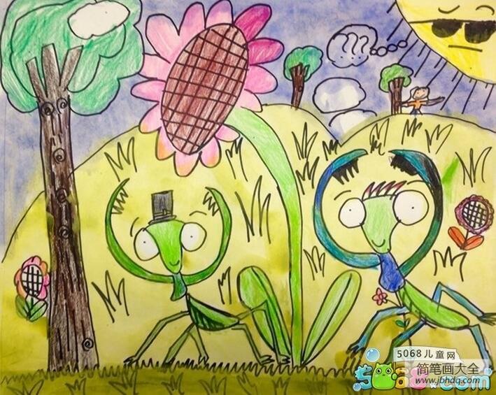 可爱的小螳螂夏天昆虫绘画图片欣赏