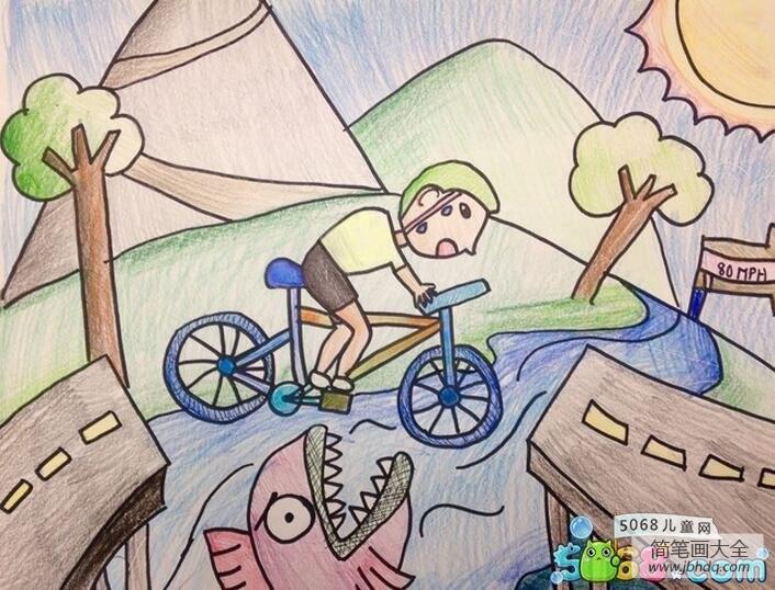 骑车历险记炎热夏天画图片欣赏