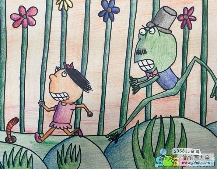 奔跑的大青蛙和小女孩夏天手绘画图片欣赏