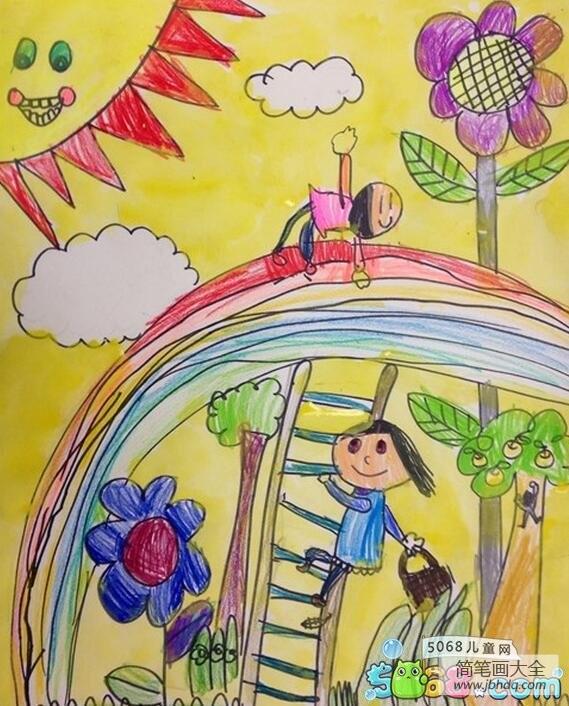 彩虹桥上玩耍夏天场景画分享