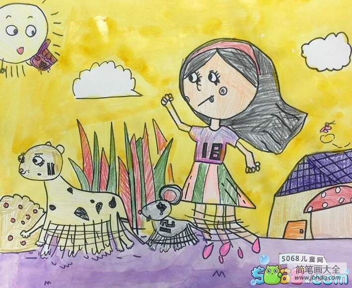 和小动物一起跑步夏天图画儿童画